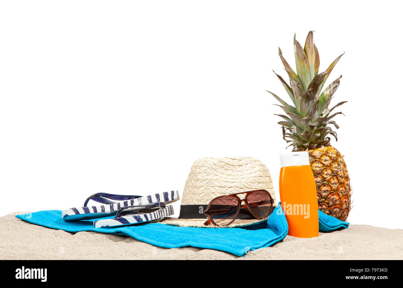 Beach accessories isolated on white background - Stock Image