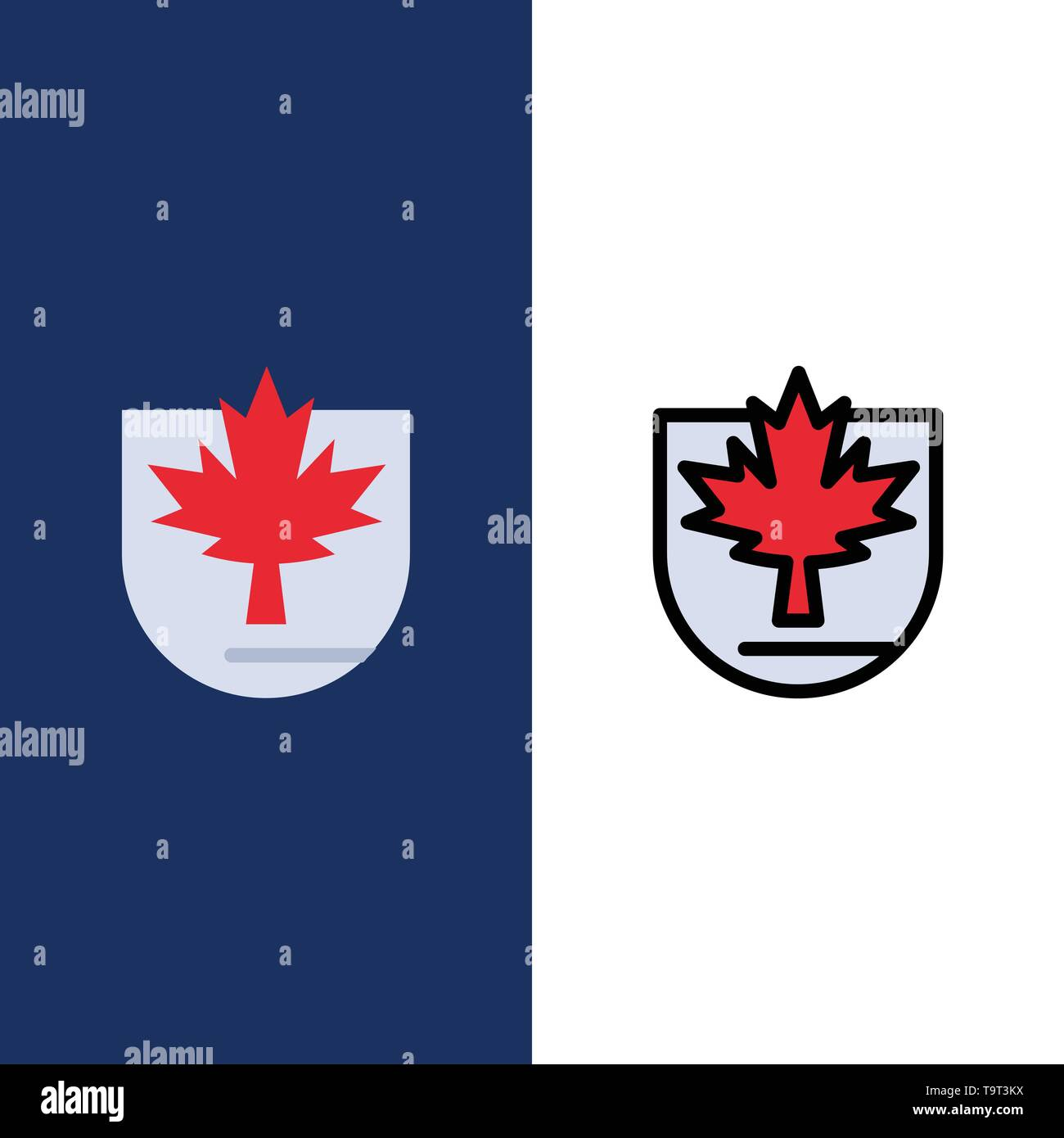 Security, Leaf, Canada, Shield  Icons. Flat and Line Filled Icon Set Vector Blue Background - Stock Image