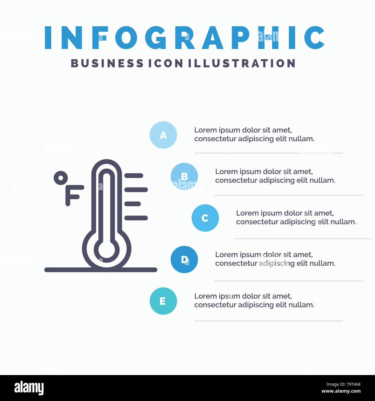 Cloud, Light, Rainy, Sun, Temperature Line icon with 5 steps presentation infographics Background - Stock Image