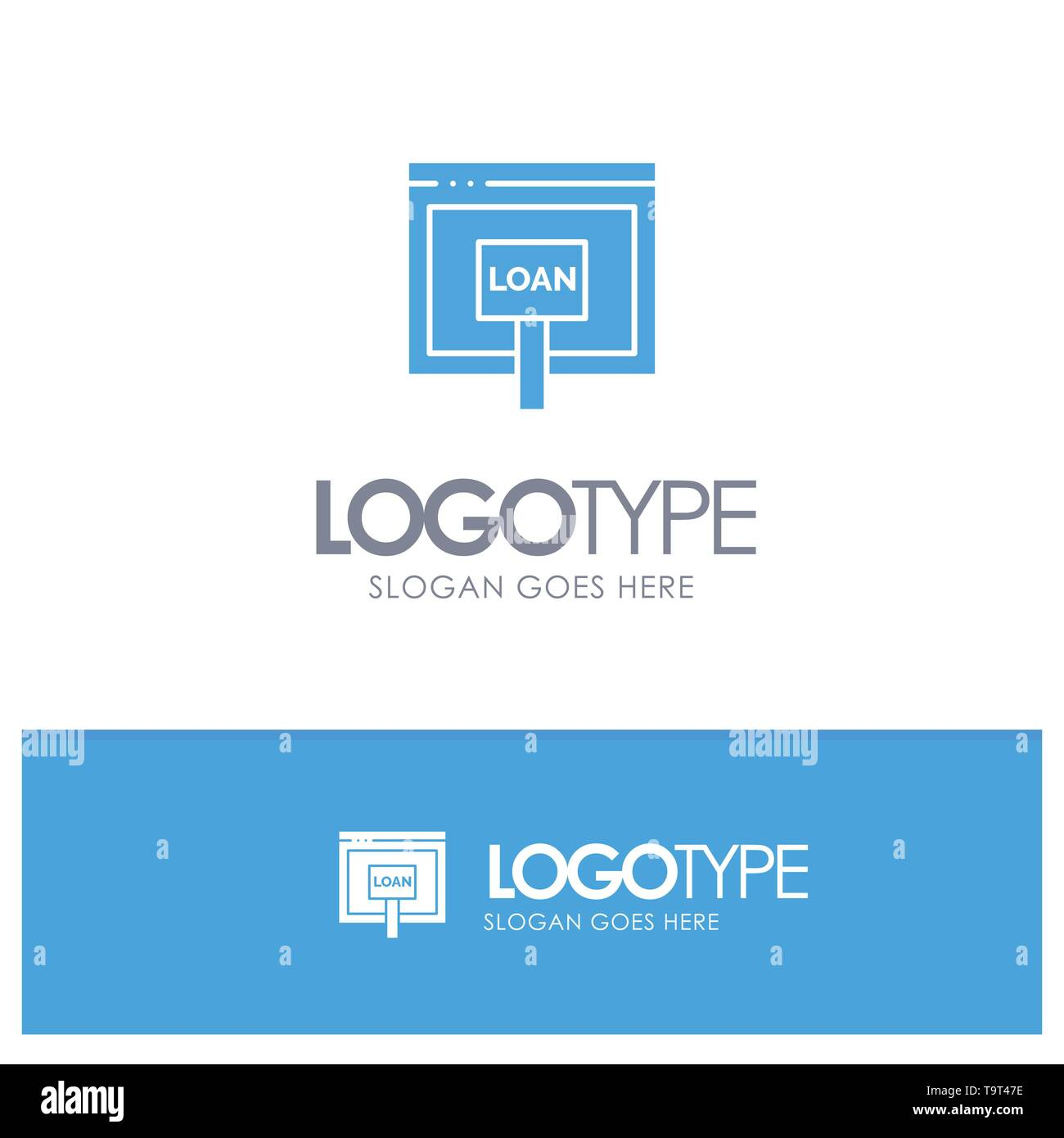 Credit, Internet, Loan, Money, Online Blue Solid Logo with place for tagline - Stock Image