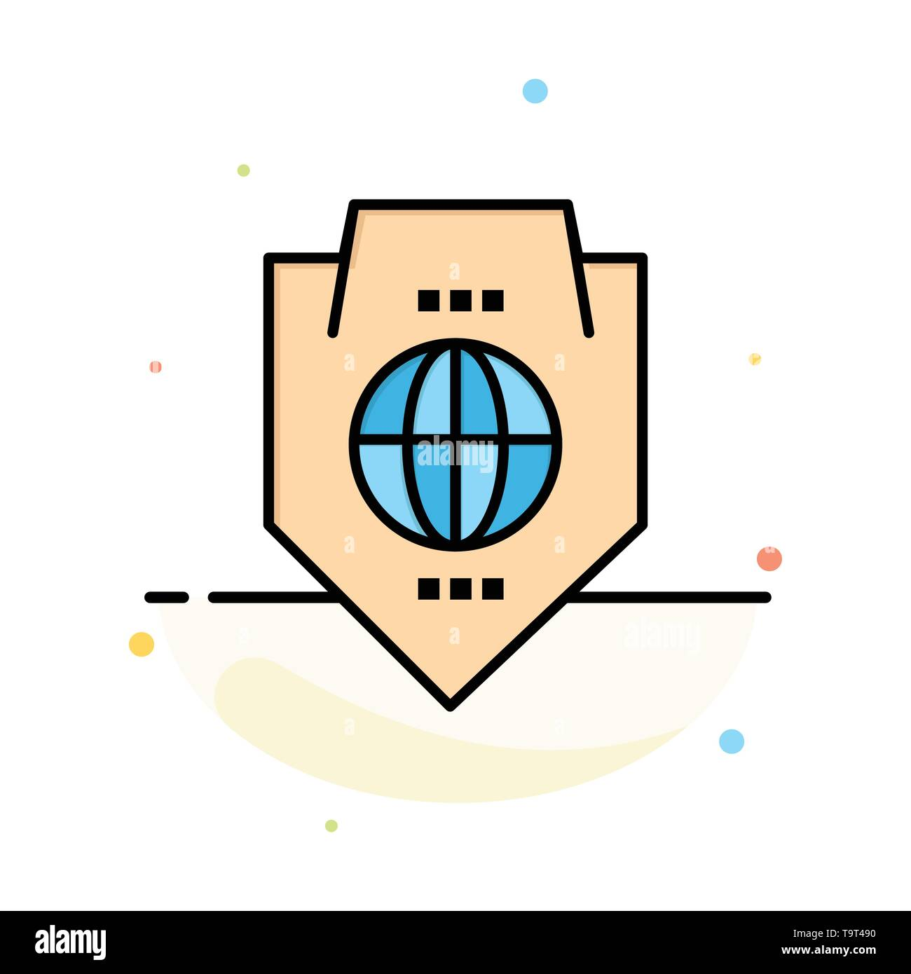 Access, World, Protection, Globe, Shield Abstract Flat Color Icon Template - Stock Image