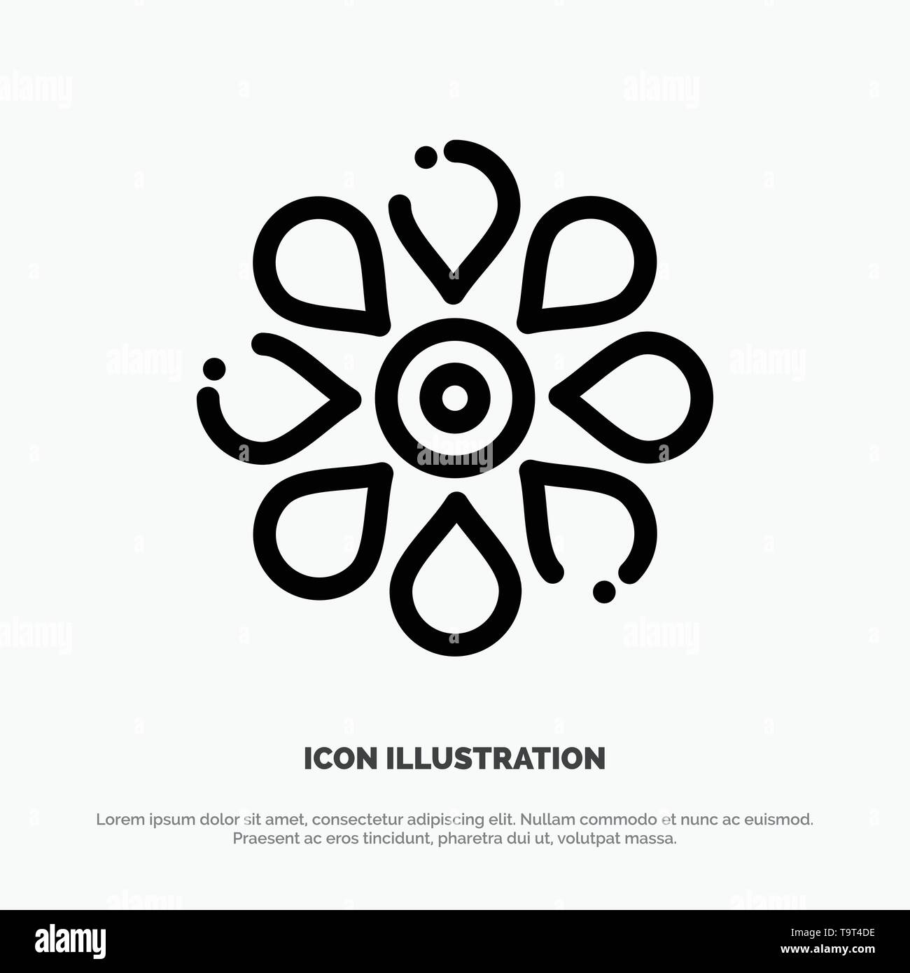 Flower, Sun Flower, Floral, Nature, Spring Line Icon Vector - Stock Image