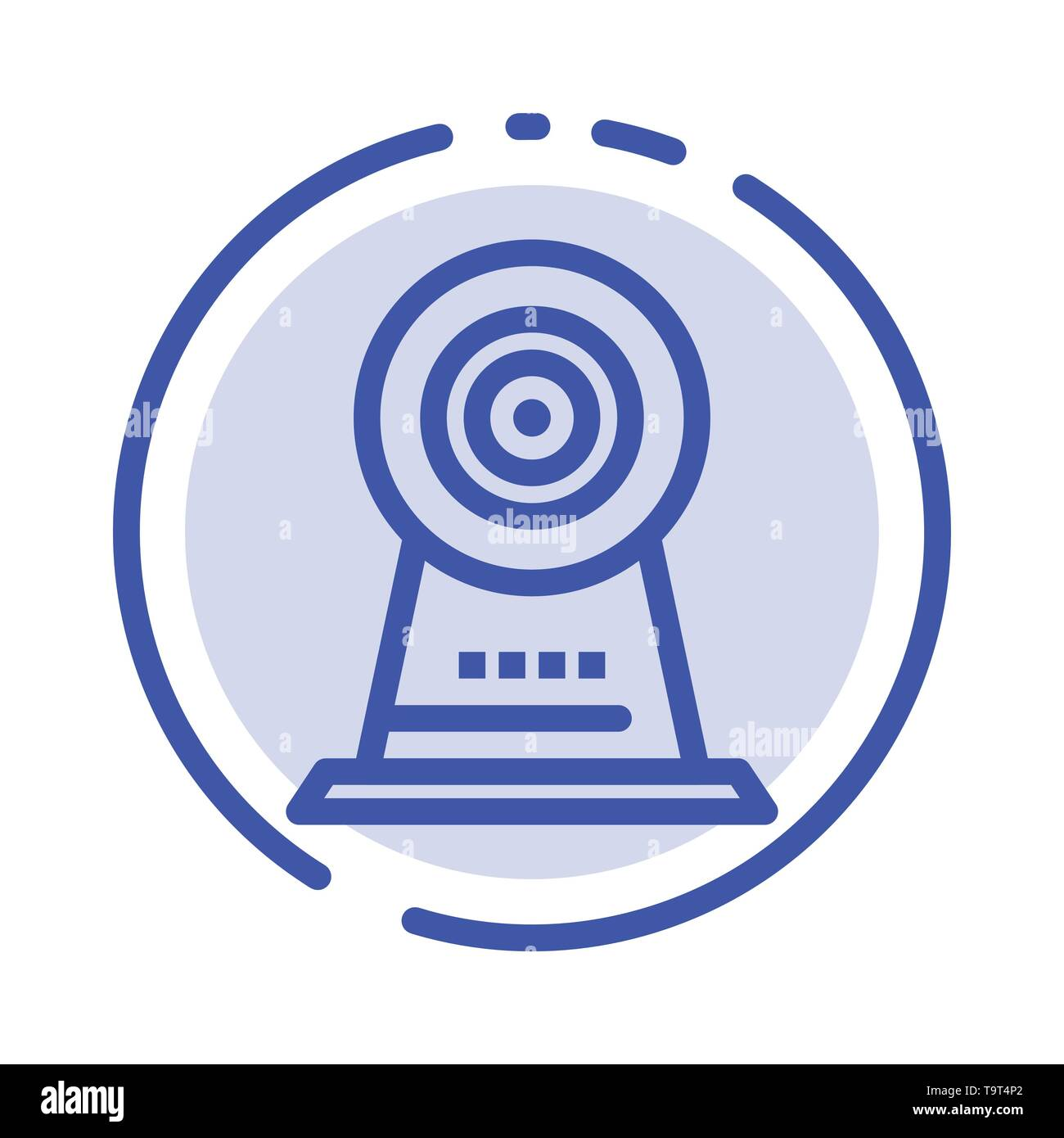 Camera, Webcam, Security, Hotel Blue Dotted Line Line Icon - Stock Image