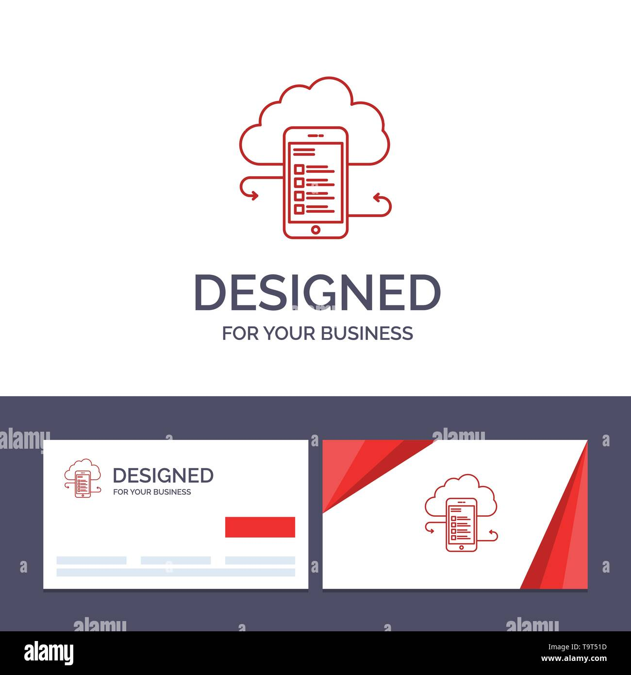 Creative Business Card and Logo template Cloud storage, Business, Cloud Storage, Clouds, Information, Mobile, Safety Vector Illustration - Stock Image