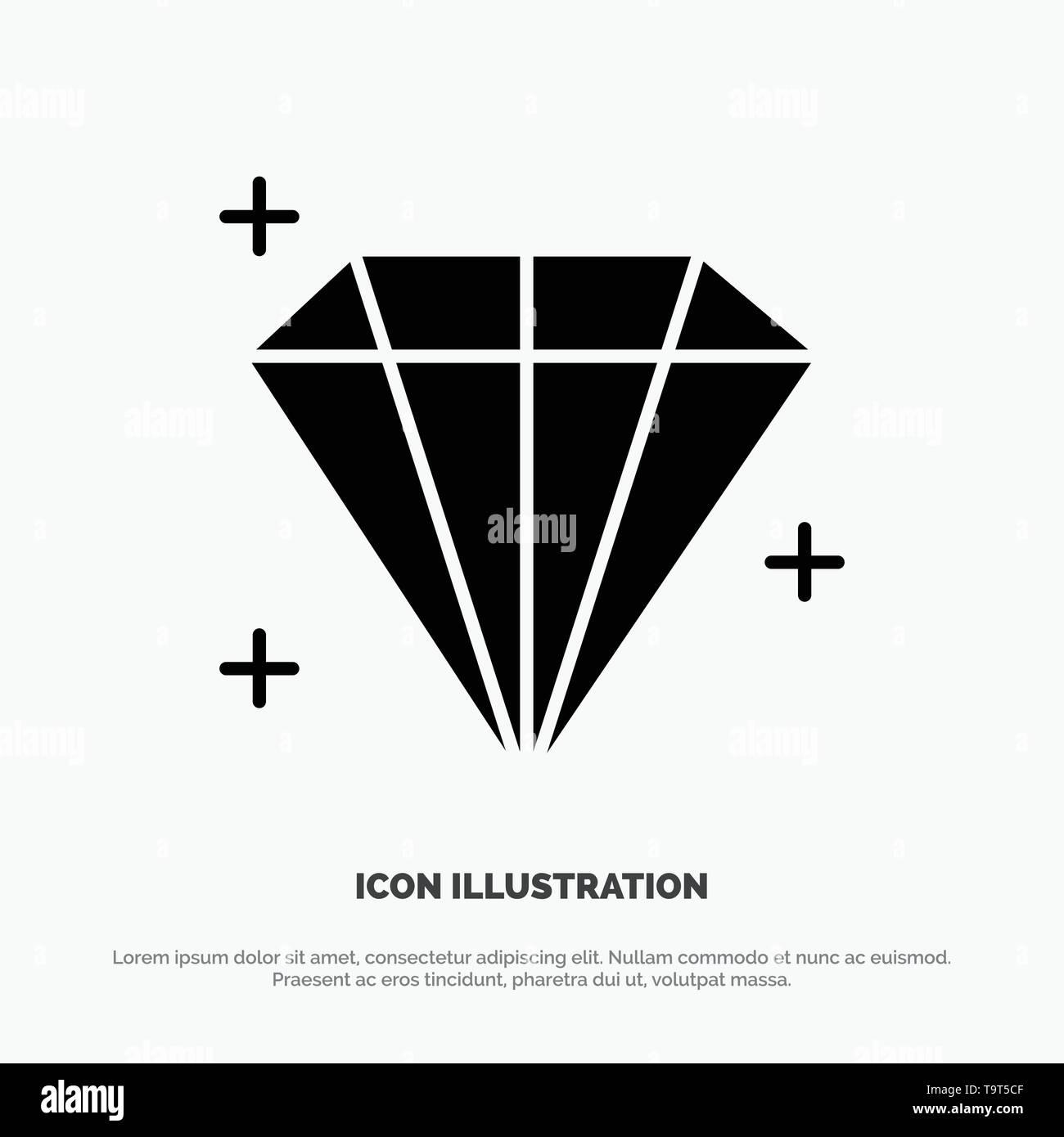 Diamond, Jewel, User solid Glyph Icon vector - Stock Image