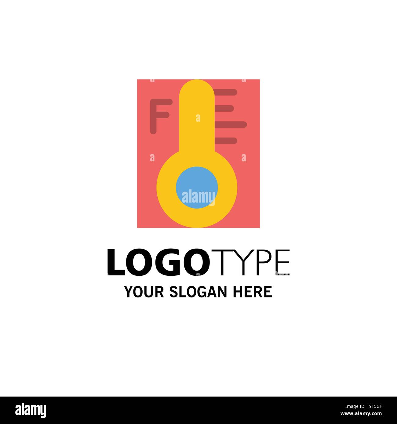 Cloud, Light, Rainy, Sun, Temperature Business Logo Template. Flat Color - Stock Image