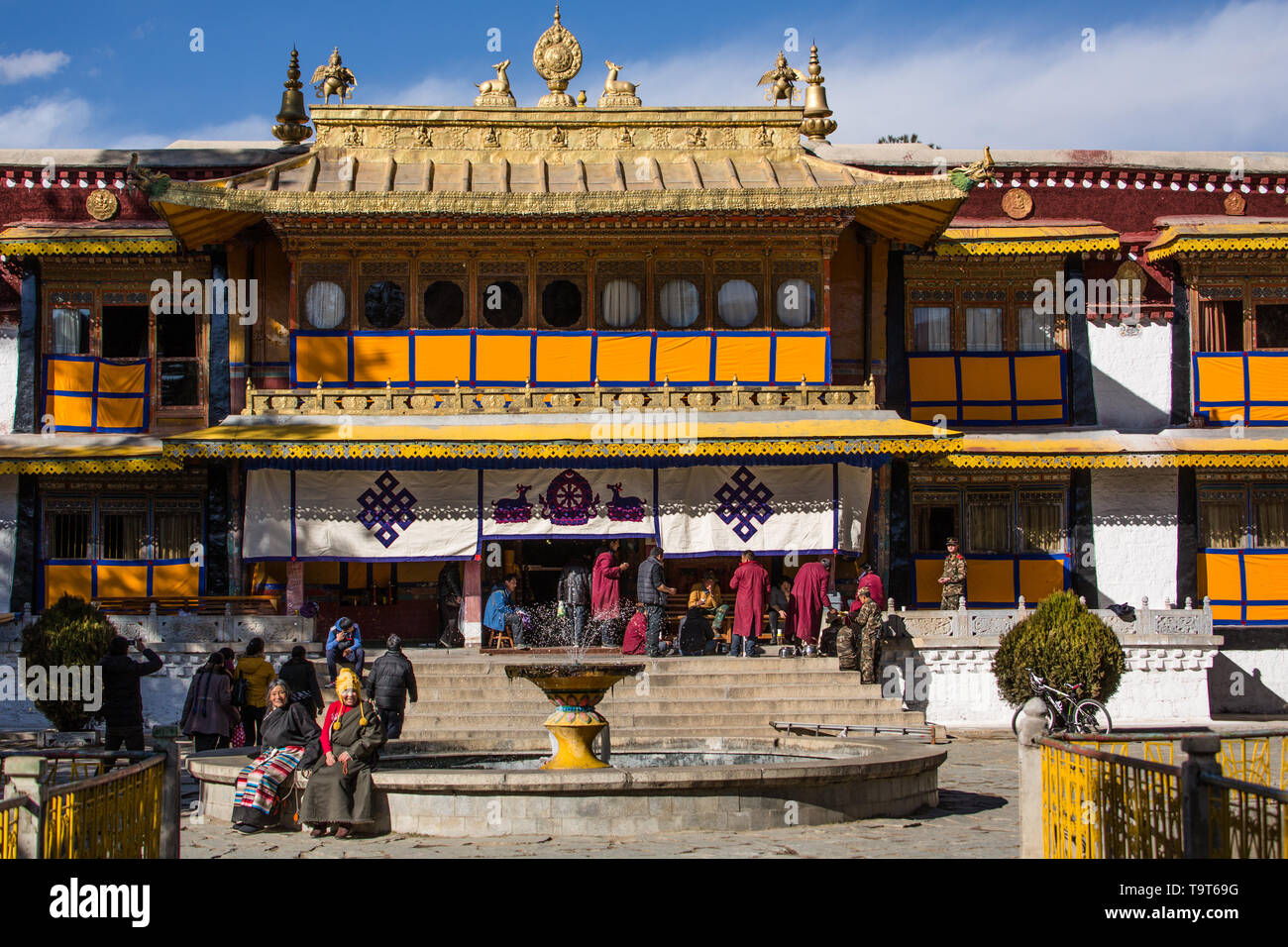 The Norbulingka Palace was the summer palace of the Dalai Lama from about 1755 until 1959.  It is part of the Historic Ensemble of the Potala Palace,  - Stock Image