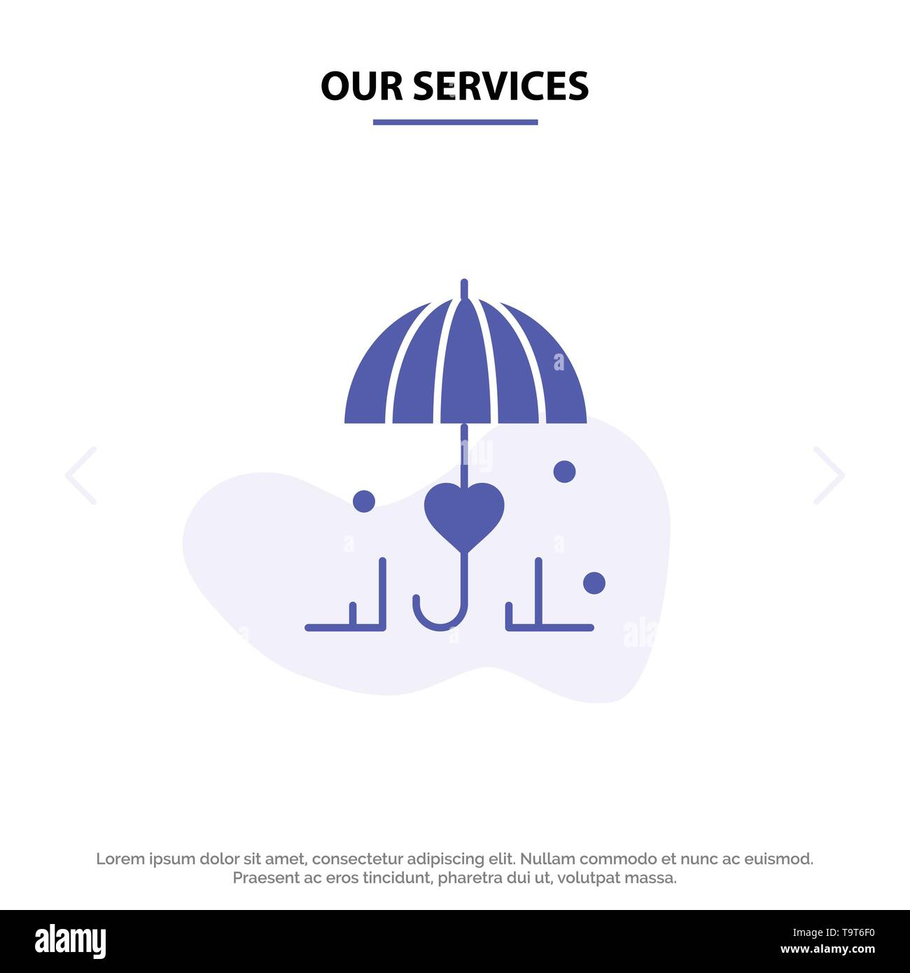 Our Services Insurance, Umbrella, Secure, Love Solid Glyph Icon Web card Template - Stock Image