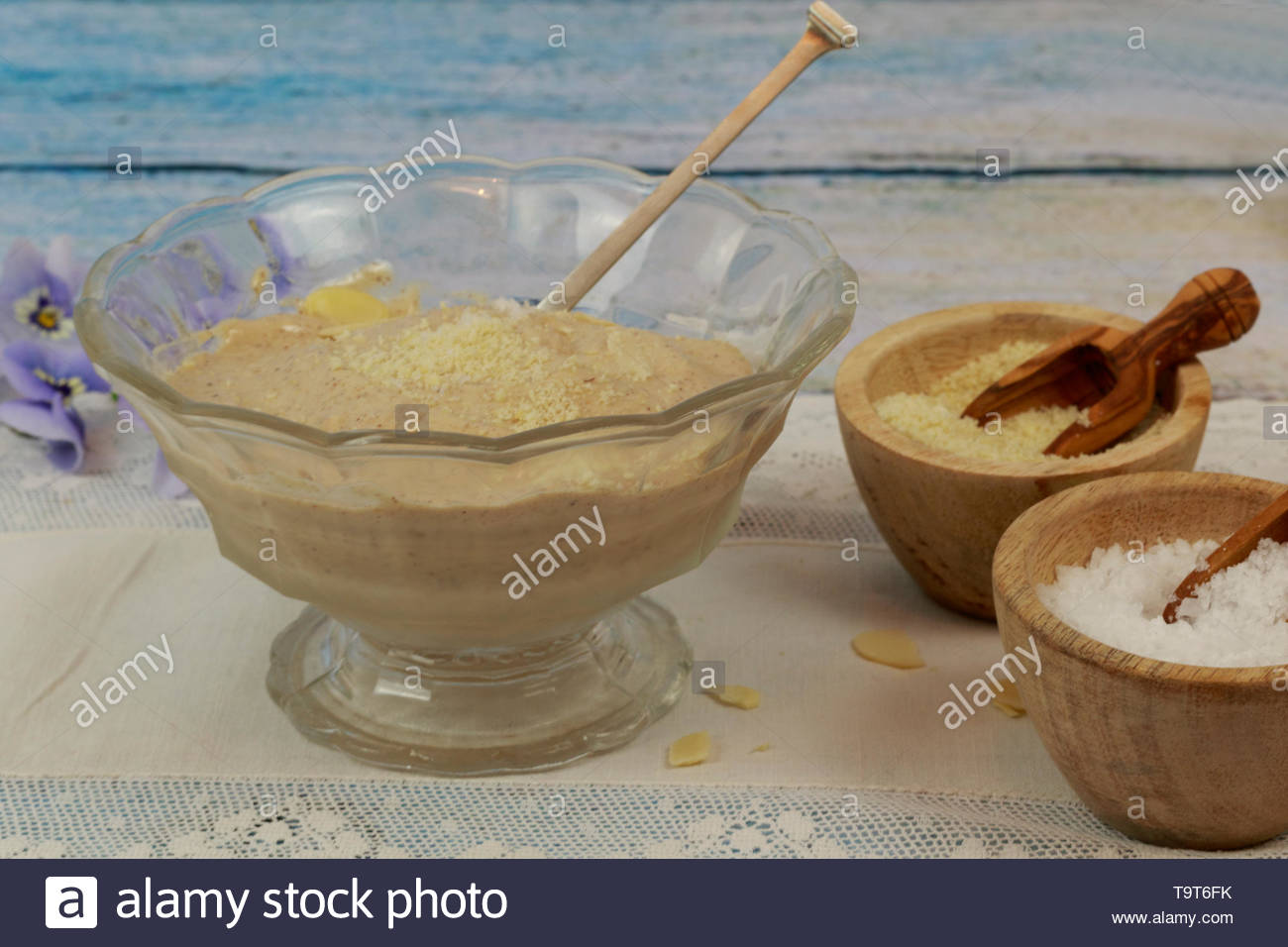 Home made salted almond butter ice cream. - Stock Image