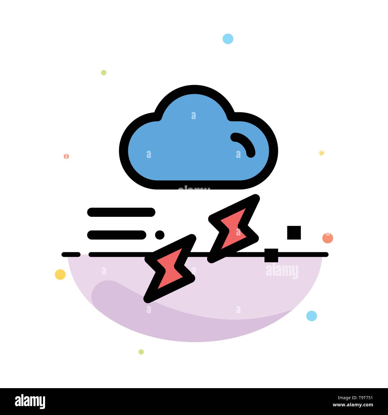 Cloud, Rain, Rainfall, Rainy, Thunder Abstract Flat Color Icon Template - Stock Image