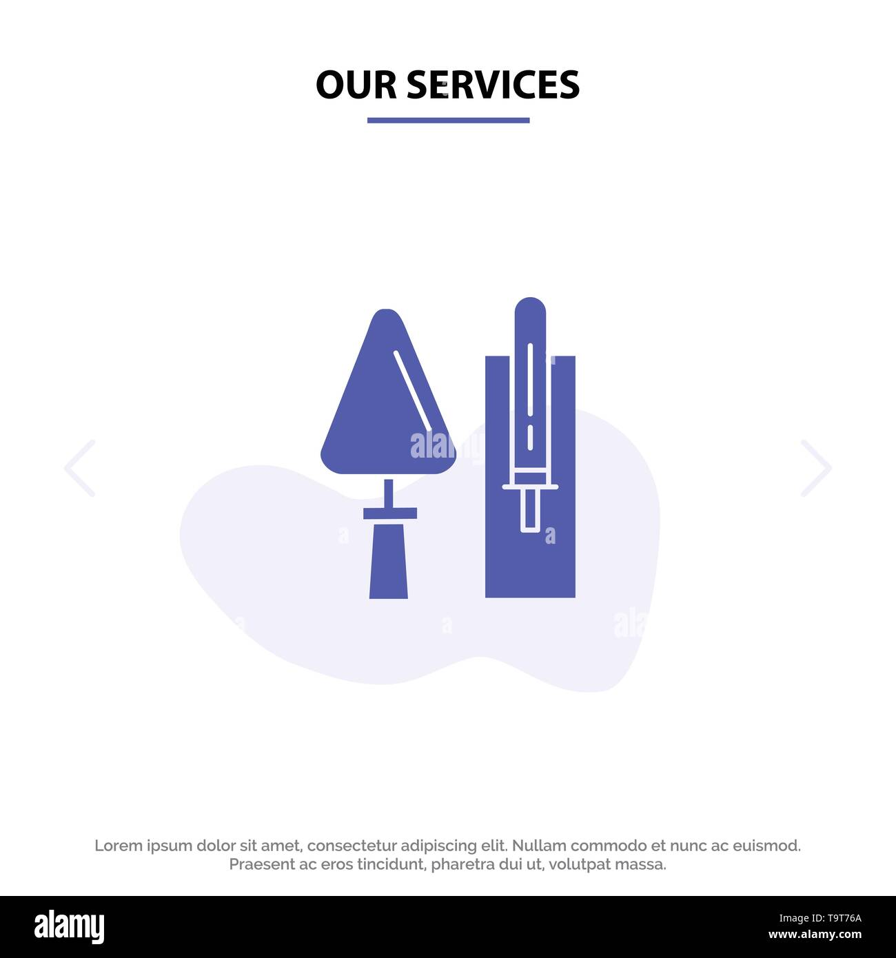Our Services Trowel, Brickwork, Construction, Masonry, Tool Solid Glyph Icon Web card Template - Stock Image