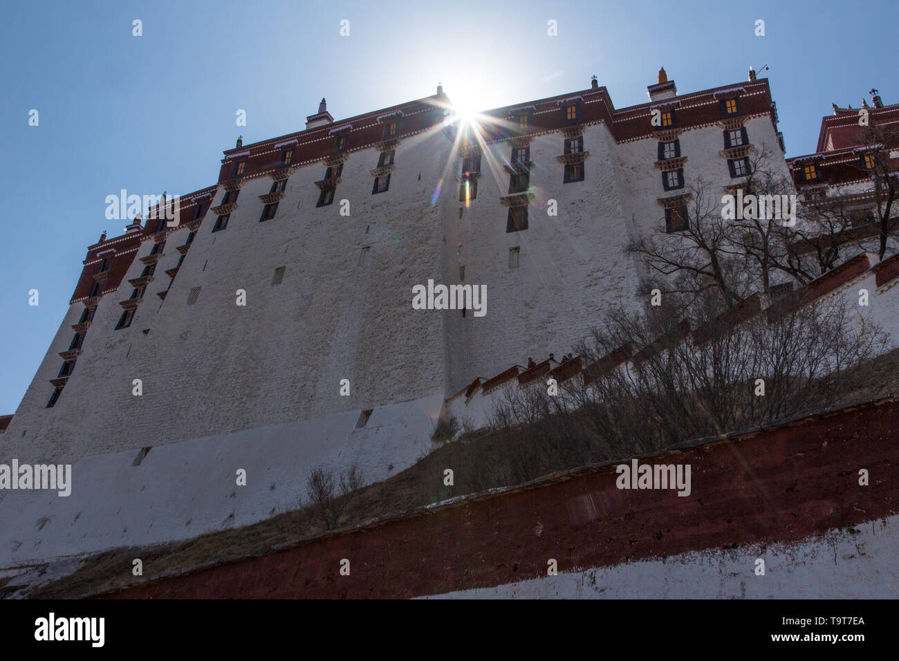 The Potala Palace was founded about 1645 A.D. and was the former summer palace of the Dalai Lama and is a part of the Historic Ensemble of the Potala  - Stock Image