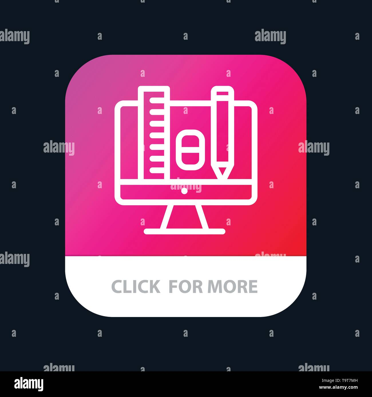 Computer, Education, Scale, Pencil Mobile App Button. Android and IOS Line Version - Stock Image