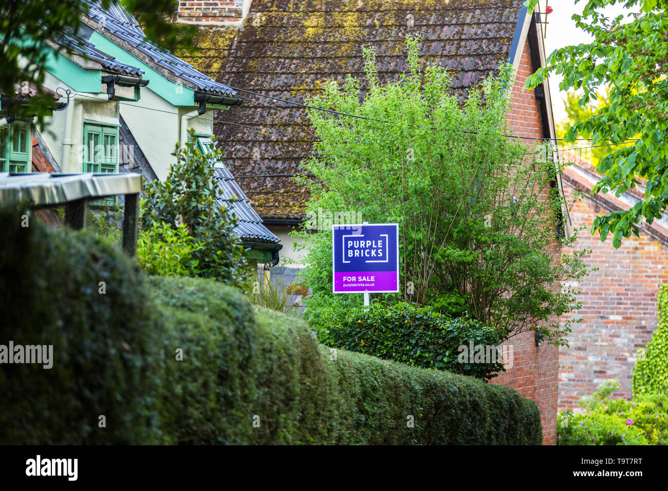 Purple Bricks estate agents sign at a rural property in the Suffolk countryside. - Stock Image