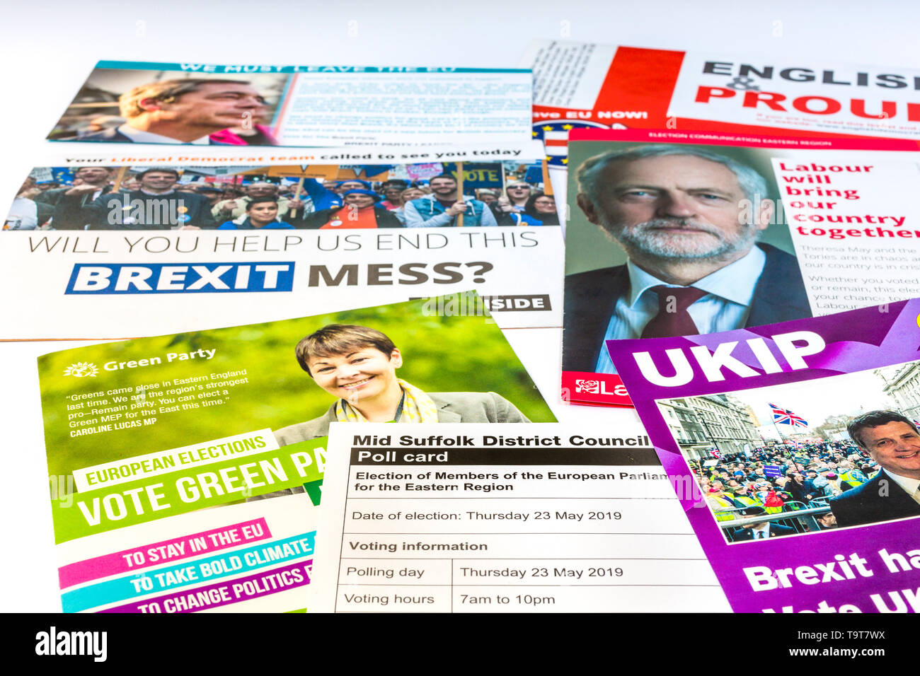 Poll card and election leaflets for the European parliament election in the eastern region of The UK 2019. - Stock Image