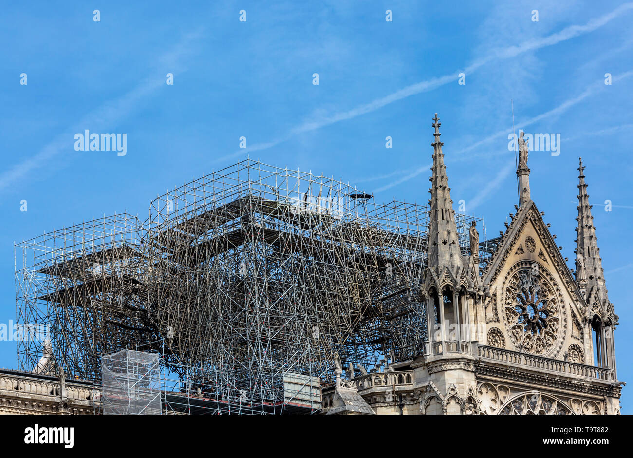Detail image of the scaffoldings and the remains of Notre Dame Cathedral in Paris after the fire destroyed the whole roof in 15 April 2019.. - Stock Image