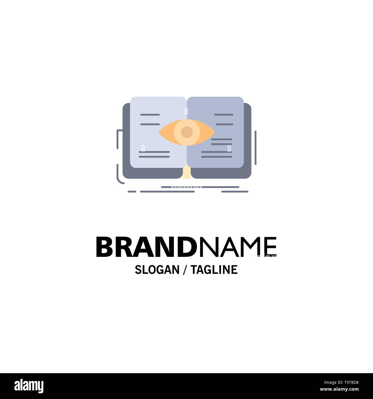 knowledge, book, eye, view, growth Flat Color Icon Vector - Stock Image