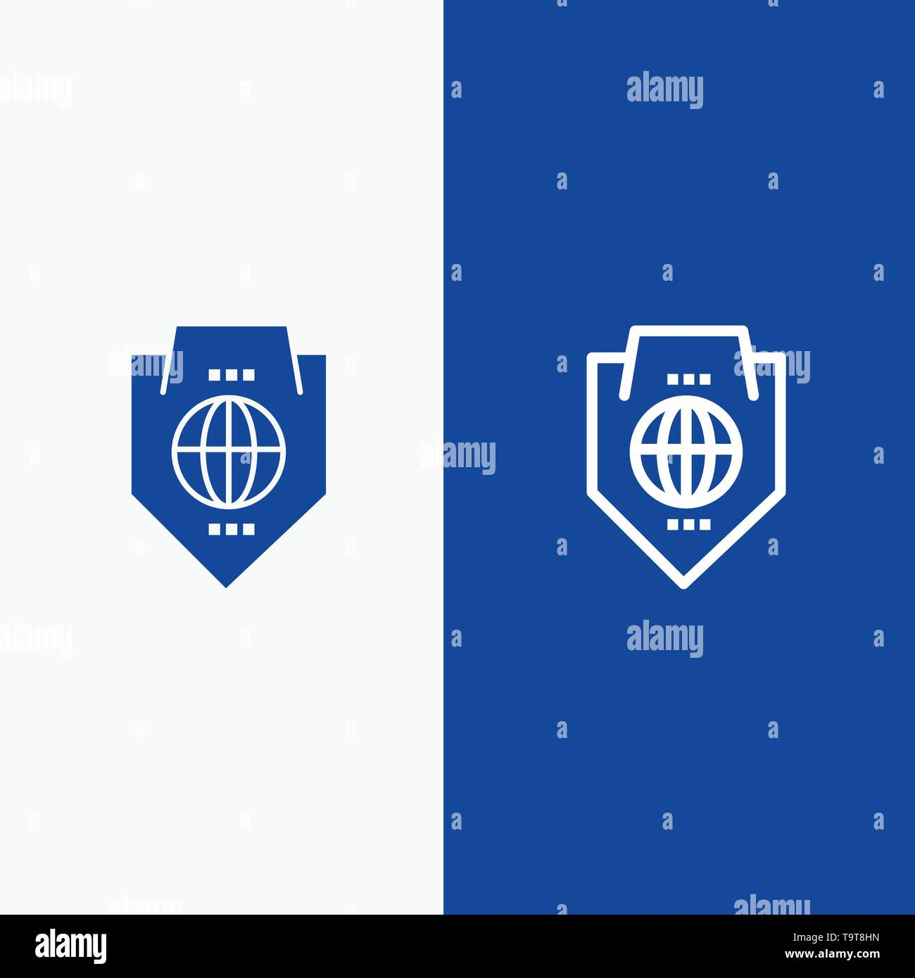 Access, World, Protection, Globe, Shield Line and Glyph Solid icon Blue banner Line and Glyph Solid icon Blue banner - Stock Image