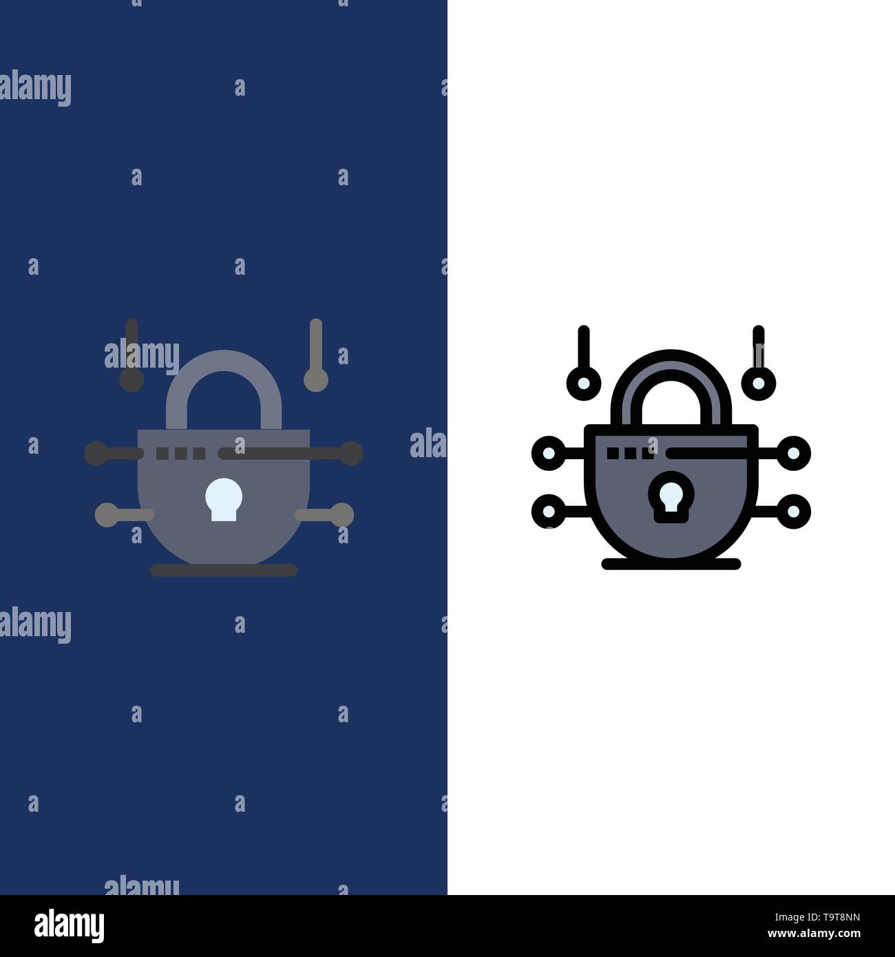 Internet, Network, Network Security  Icons. Flat and Line Filled Icon Set Vector Blue Background - Stock Image