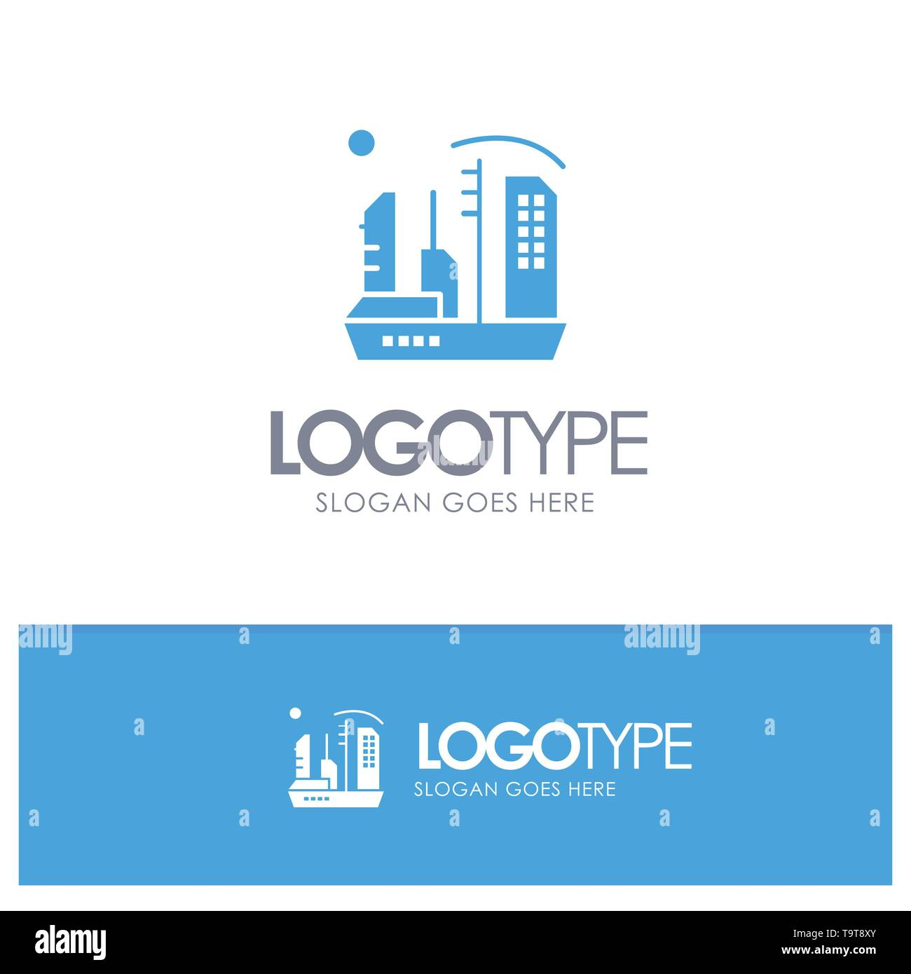 City, Colonization, Colony, Dome, Expansion Blue Solid Logo with place for tagline Stock Vector