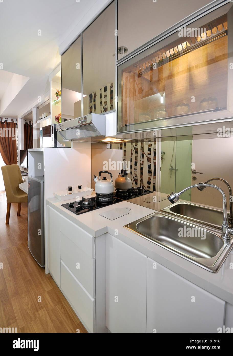 Kitchen set at small apartement, studio type Stock Photo