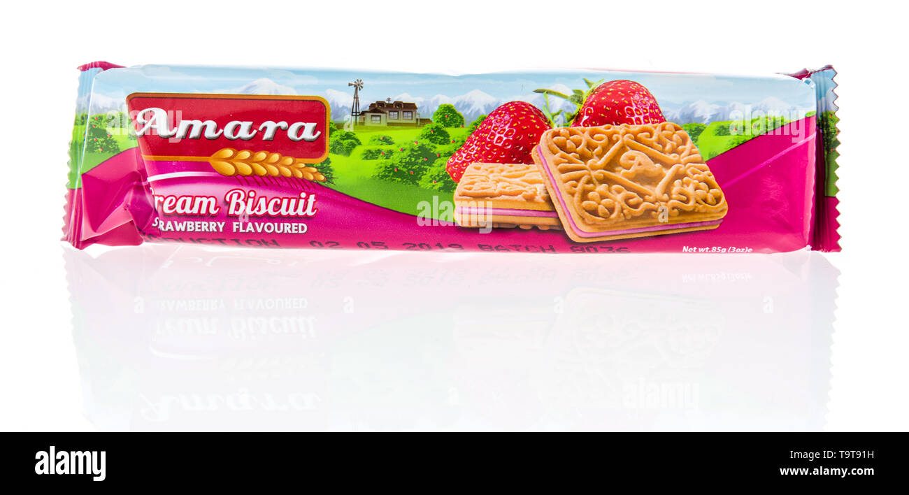 Winneconne, WI - 16 May 2019 : A package of Amara cream cookies on an isolated background - Stock Image