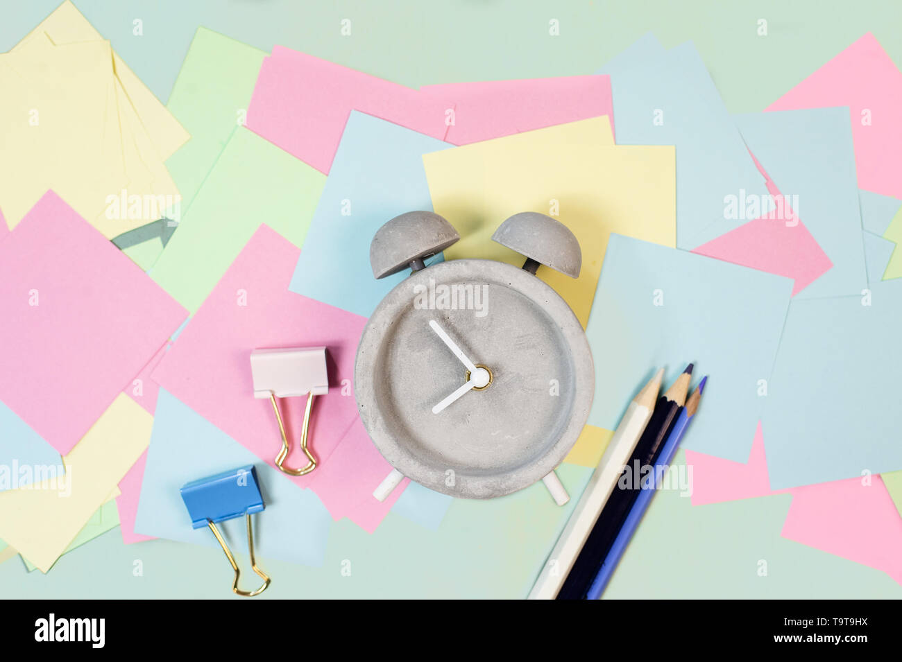Back to school composition with vintage alarm clock - Stock Image