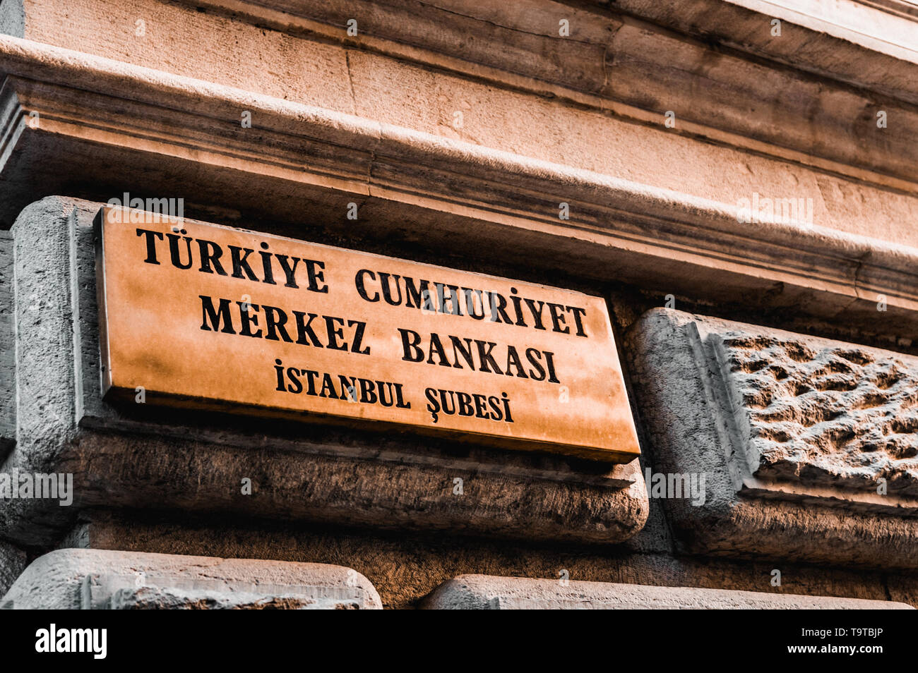 Istanbul, Turkey - January 06, 2018: Signboard of the Central Bank of the Republic of Turkey. - Stock Image