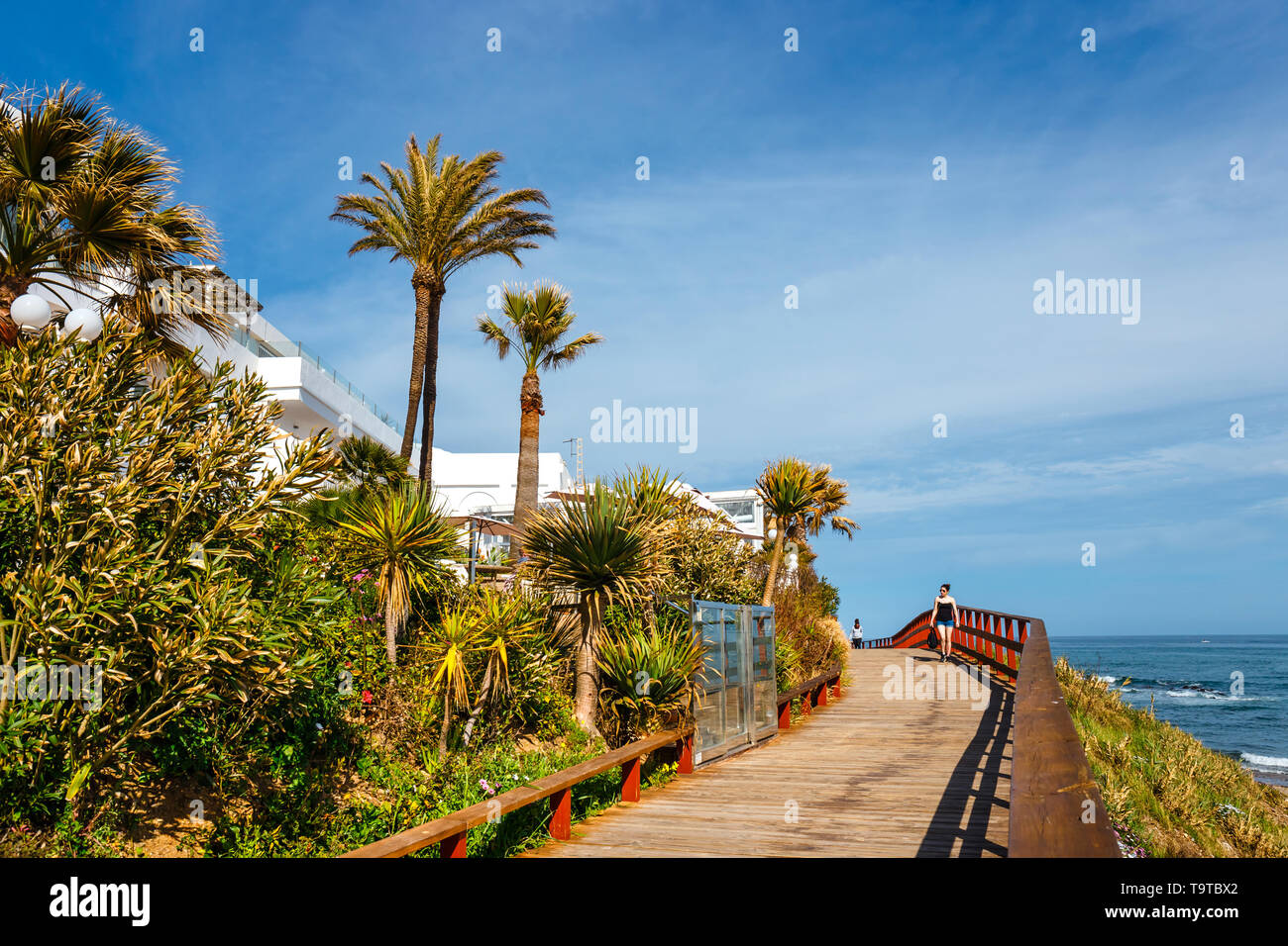 La Cala De Mijas, Spain, April 02, 2018: seaside promenade in La Cala De Mijas, Costa del Sol, Spain - Stock Image