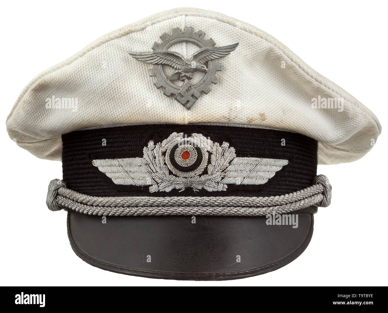 A visor cap for Luftwaffe officers as chiefs of aircraft procurement and supply white summer issue, manufactured by Breiter, Munich historic, historical, Air Force, branch of service, branches of service, armed service, armed services, military, militaria, air forces, object, objects, stills, clipping, clippings, cut out, cut-out, cut-outs, 20th century, Editorial-Use-Only - Stock Image