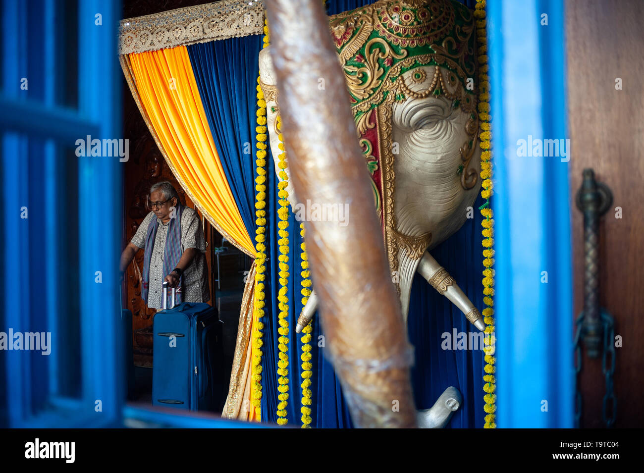 15.03.2019, Singapore, Republic of Singapore, Asia - The head of a holy elephant is used as decoration for an upcoming Indian wedding ceremony. - Stock Image