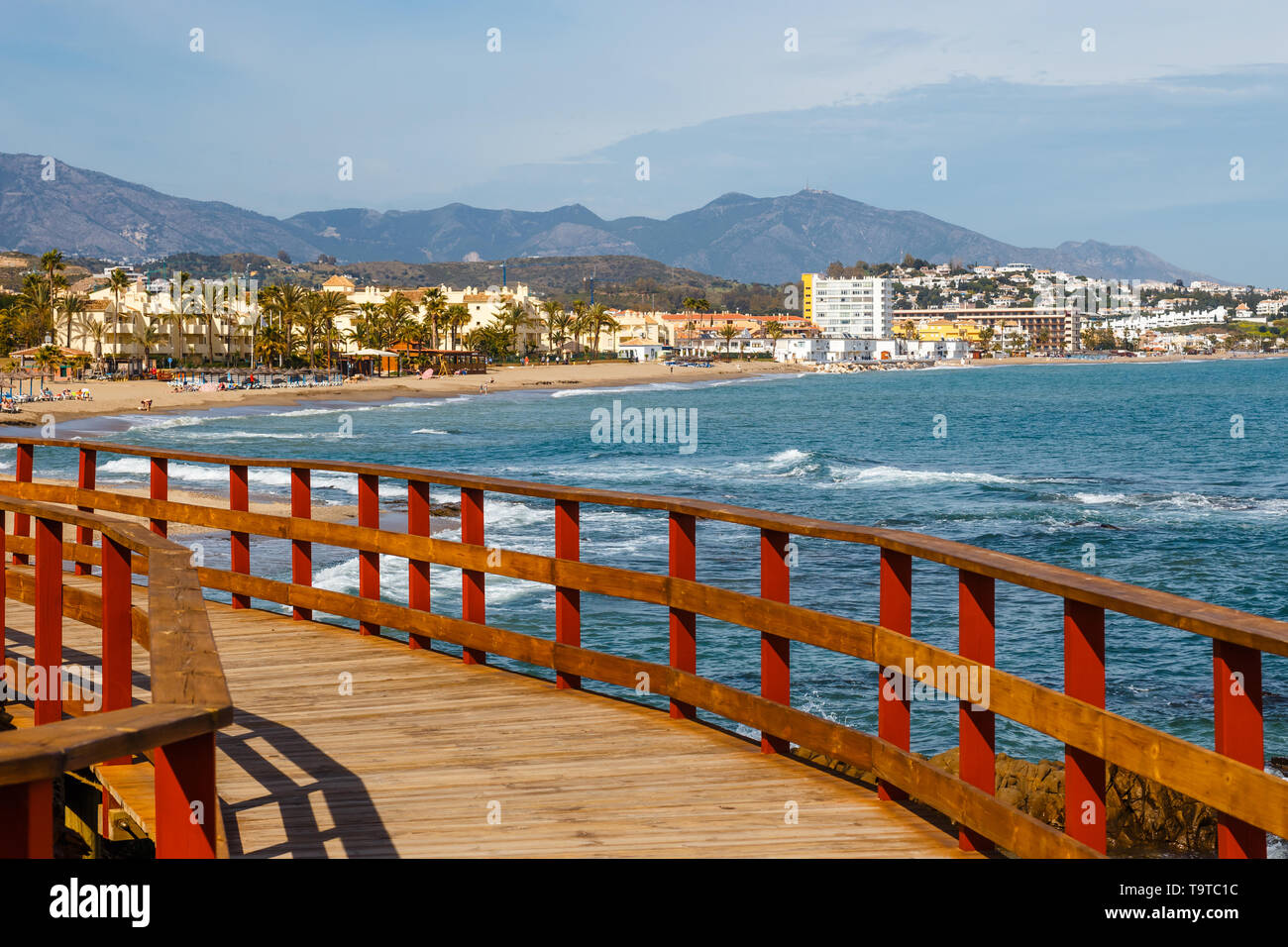 seaside promenade in La Cala De Mijas, Costa del Sol, Spain - Stock Image