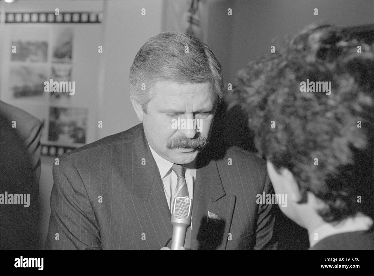 Moscow, Russia - March 28, 1991: People's deputy of the Russian SFSR Alexander Vladimirovich Rutskoy talks to journalist at 3d extraordinary Congress of people's deputies of russian RSFSR. - Stock Image