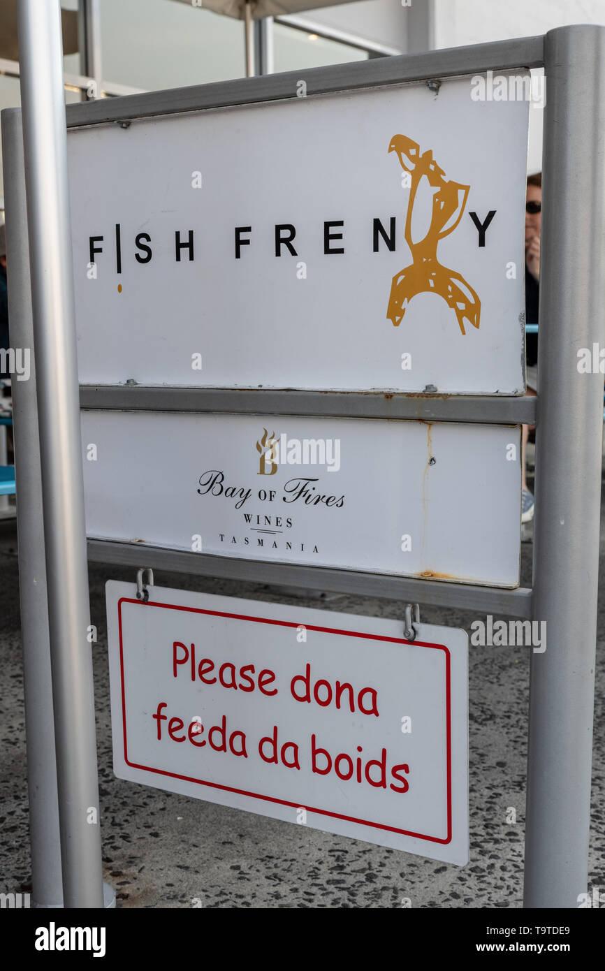 Funny Do Not Feed the Birds Sign, Hobart, Tasmania - Stock Image