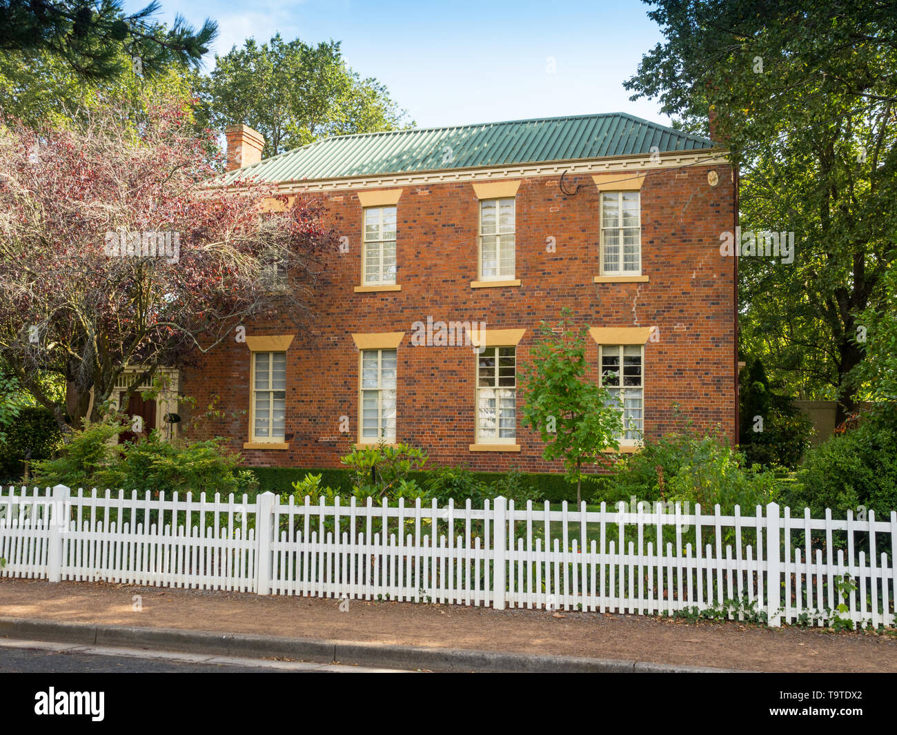 An elegant Georgian-style home in Russell Street, in the historic town of Evandale in Tasmania, Australia. Stock Photo