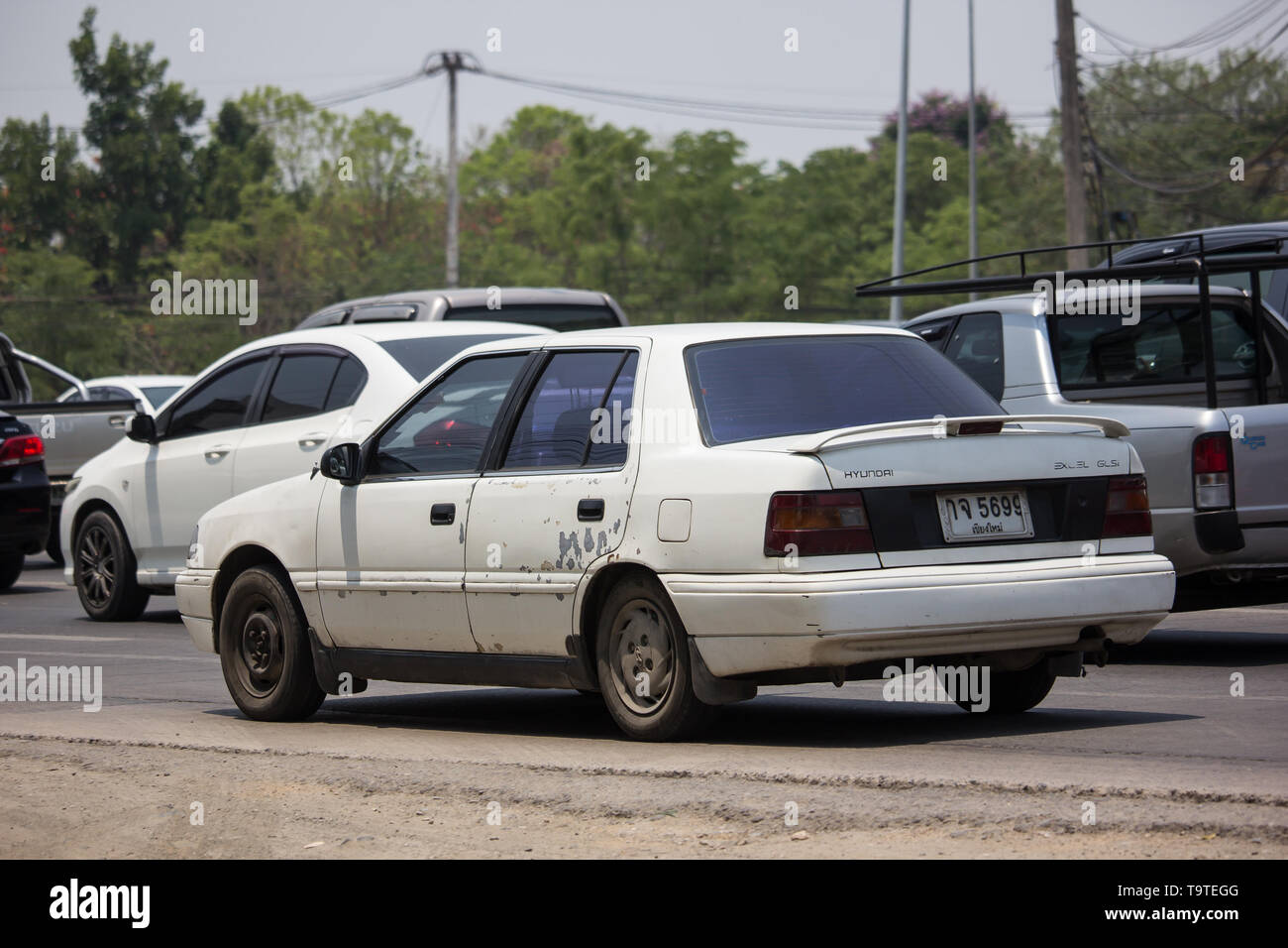 Chiangmai, Thailand - April 30 2019: Private car, Hyundai Elentra. Photo at road no 121 about 8 km from downtown Chiangmai, thailand. - Stock Image