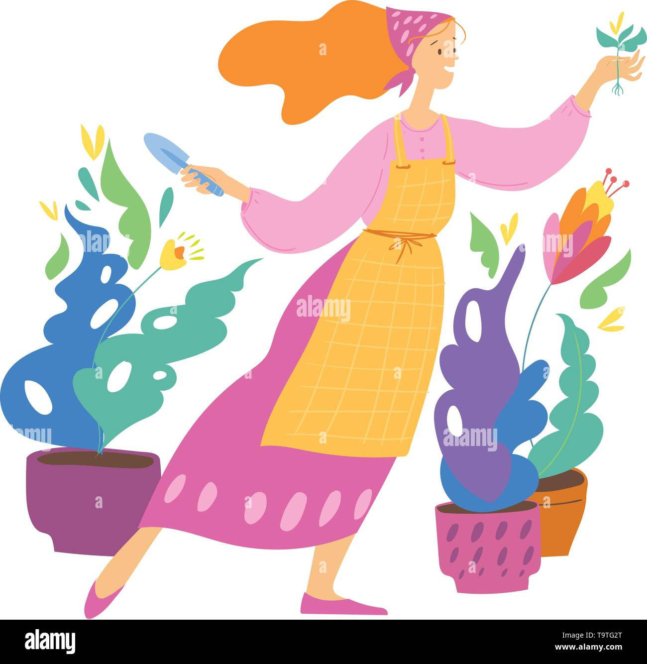 Vector illustration in urban jungle style with woman and home plants  - Stock Vector