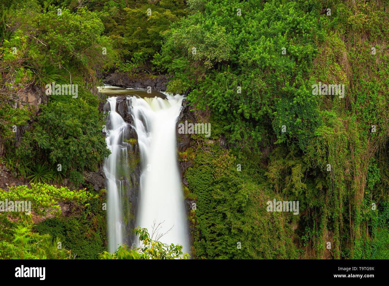 Falls at Makahiku, Haleakala National Park, Maui, Hawaii, USA Stock Photo