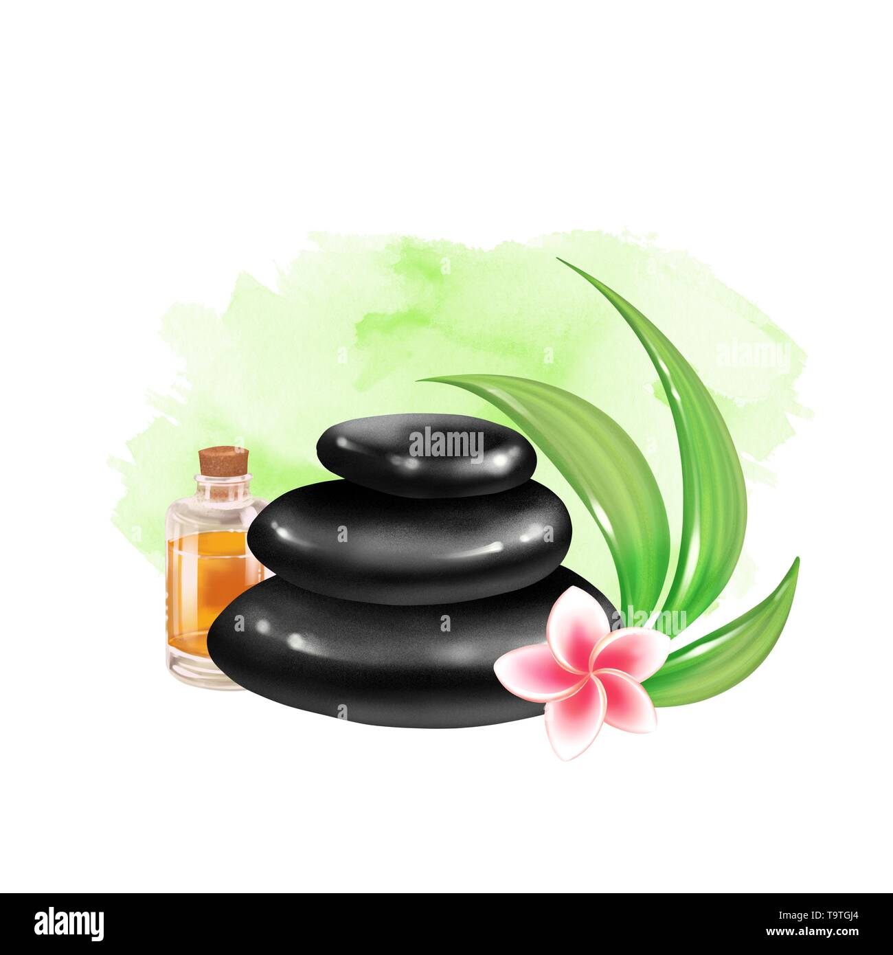 SPA composition on watercolor background - Stock Image