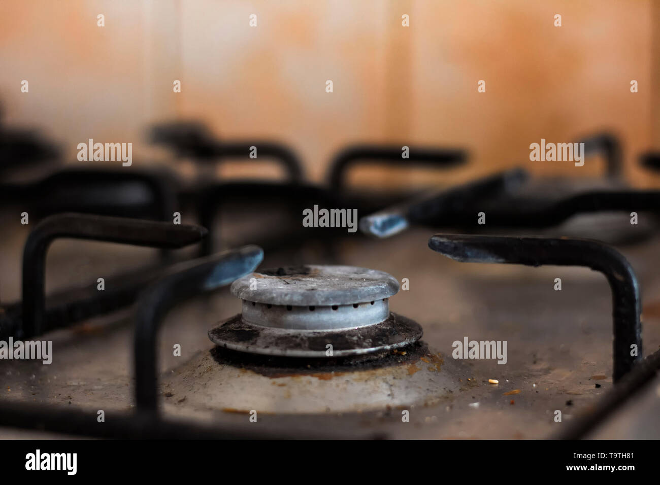 Dirty gas hob not being used Stock Photo