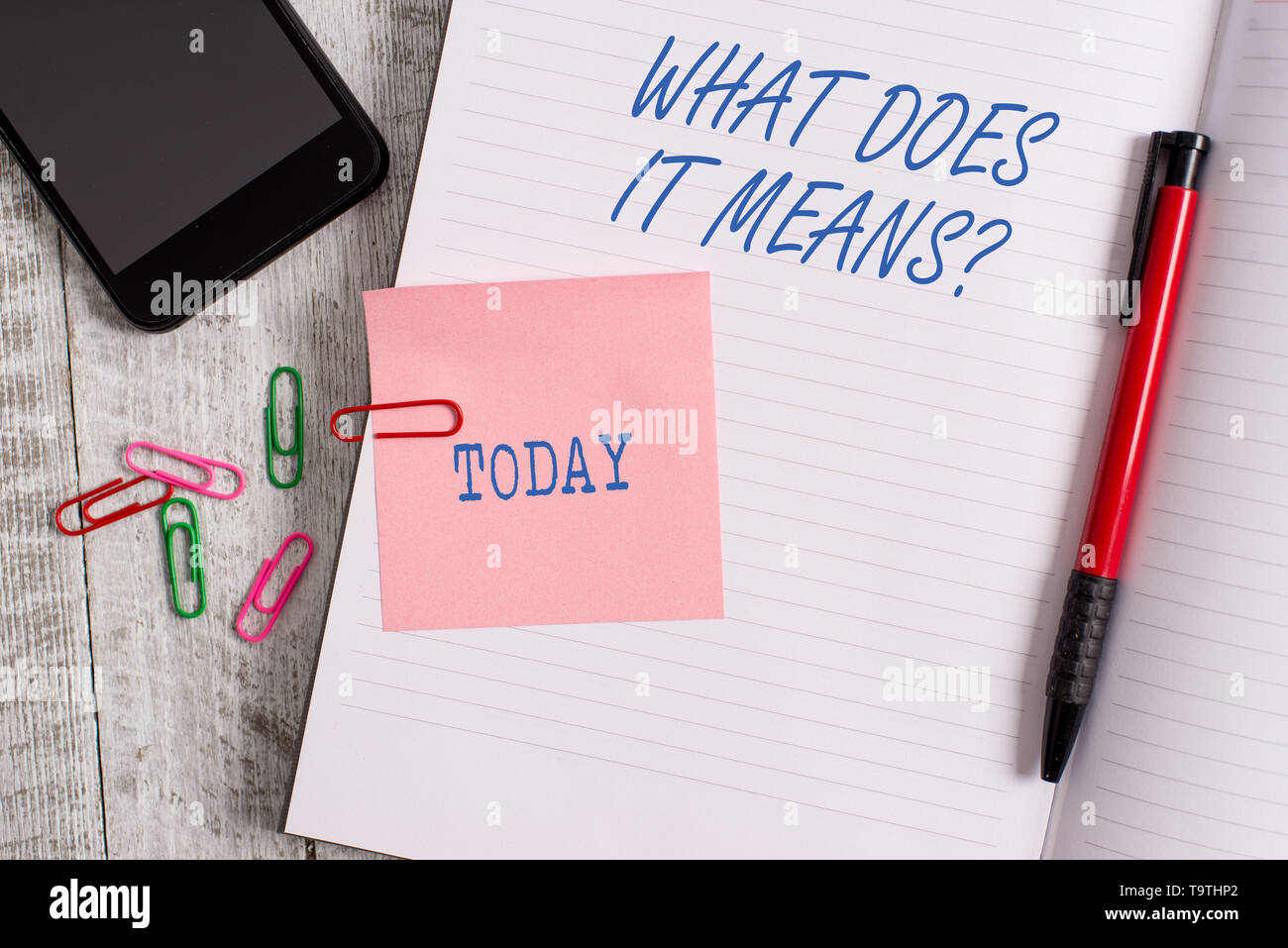 Text sign showing What Does It Means Question. Business photo showcasing asking meaning something said and do not understand - Stock Image