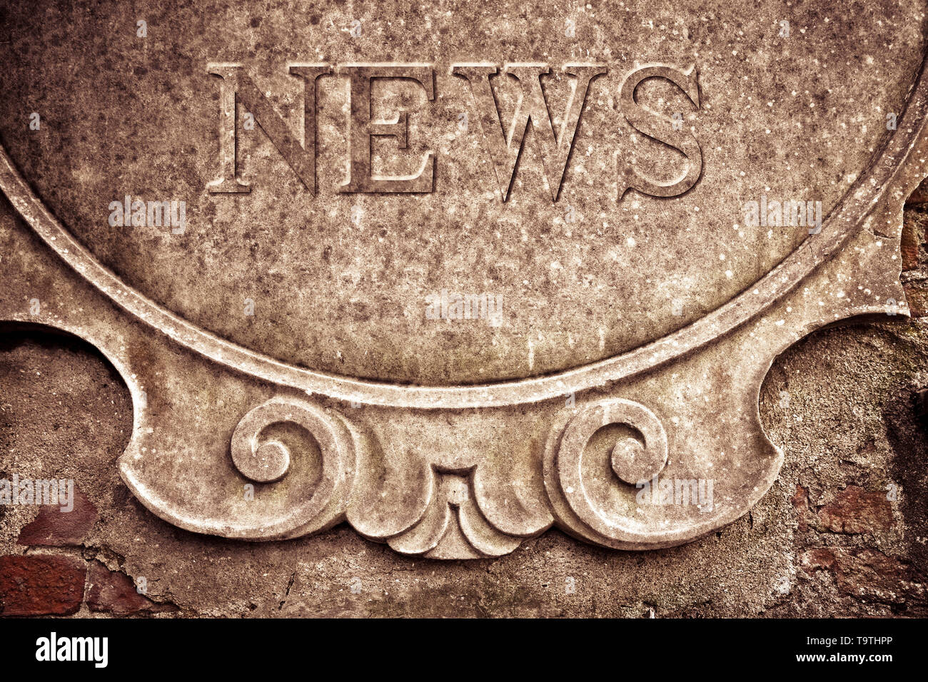 News written on stucco wall - concept image - Stock Image