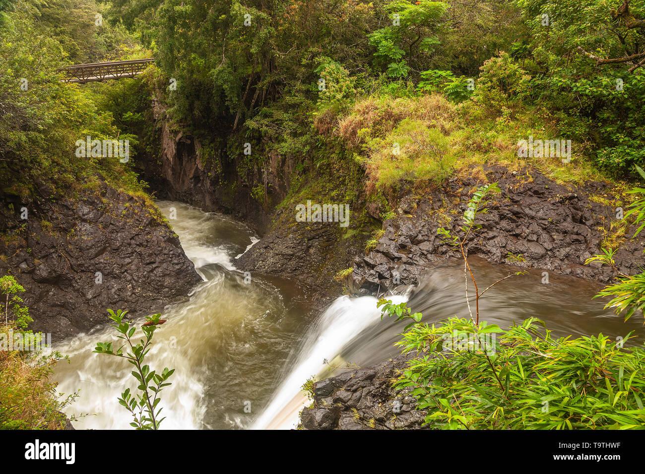 Palikea Stream and waterfalls, Haleakala National Park, Maui, Hawaii, USA Stock Photo