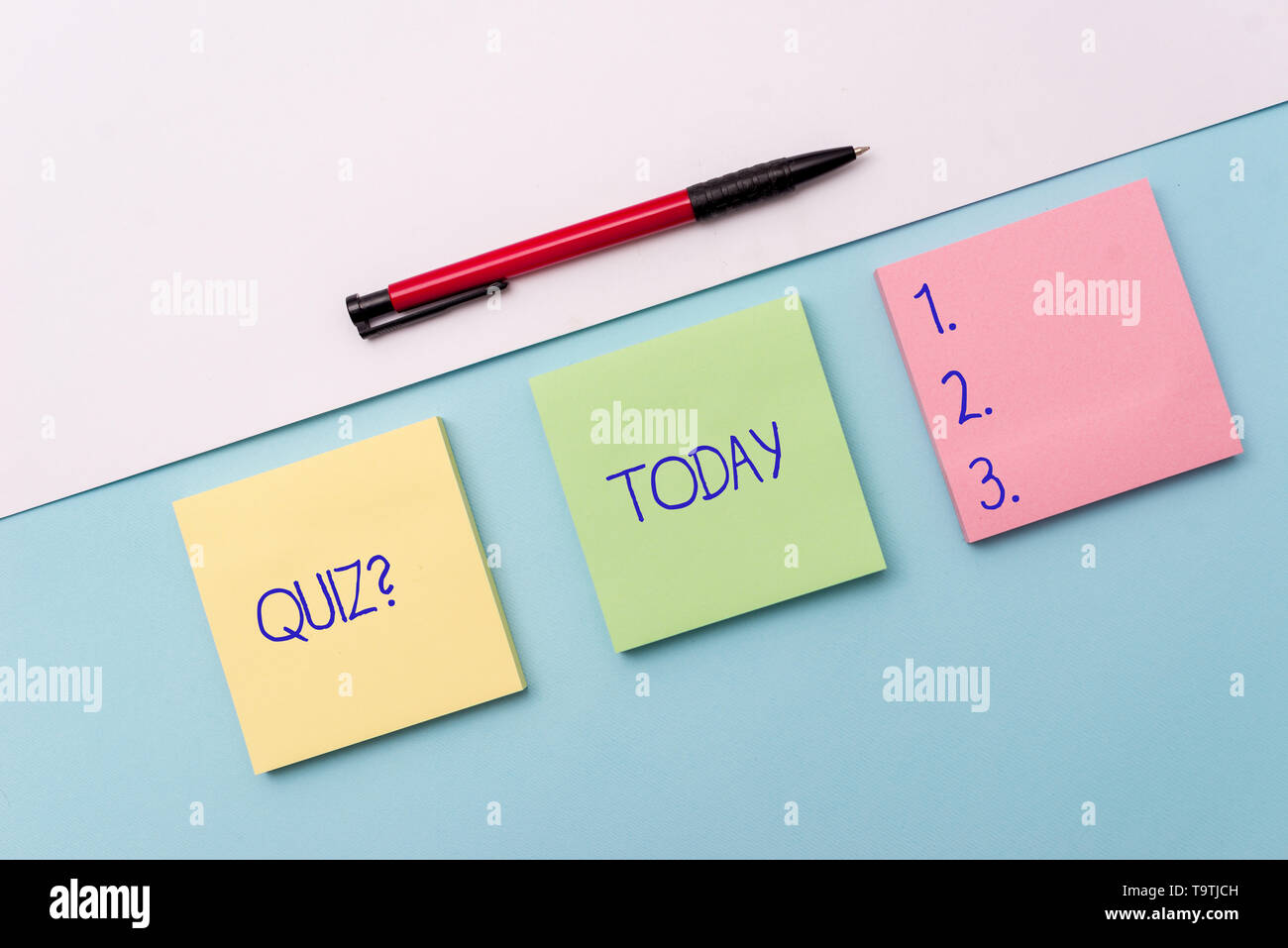 Conceptual hand writing showing Quiz Question. Concept meaning test of knowledge as competition between individuals or teams Stationary placed sideway - Stock Image