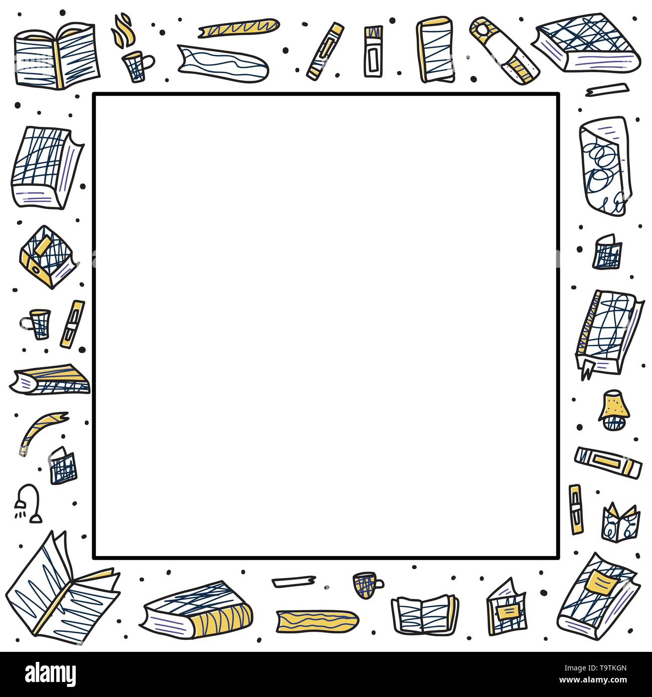Square frame of book set in doodle style. Book club concept. Symbols of reading on white background. Vector illustration. - Stock Image