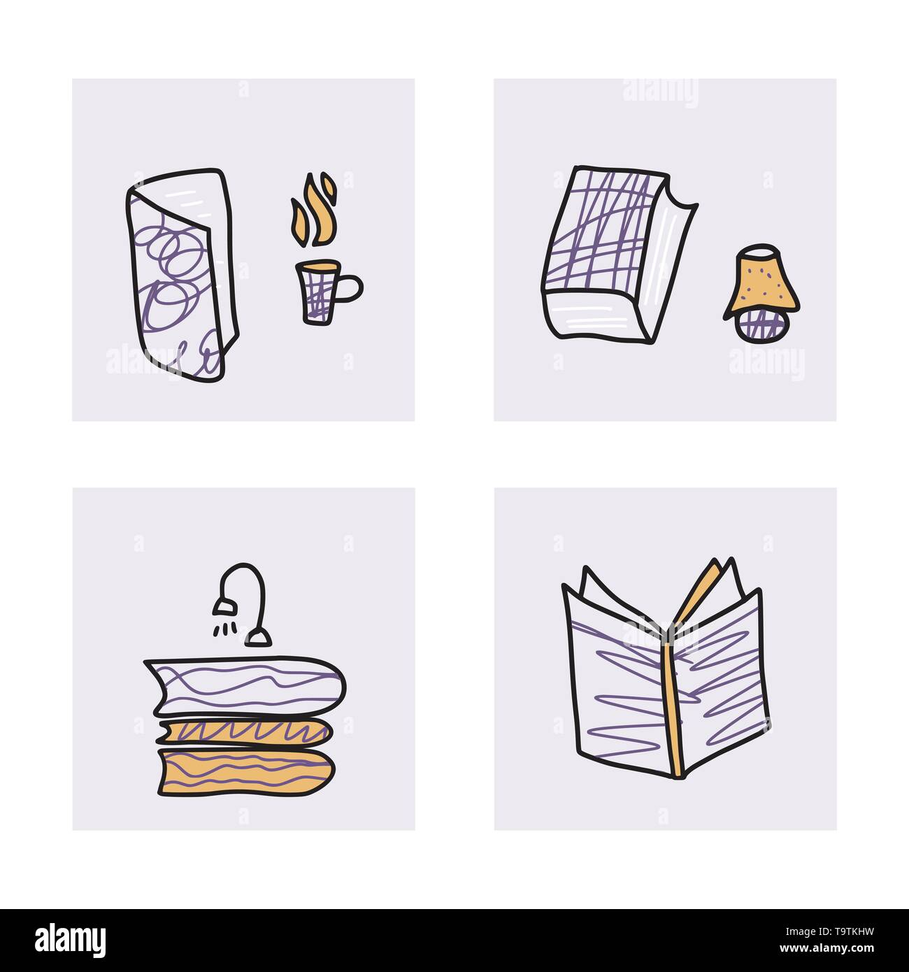 Book set in doodle style. Book club concept. Symbols of reading on white background. Vector illustration. - Stock Image