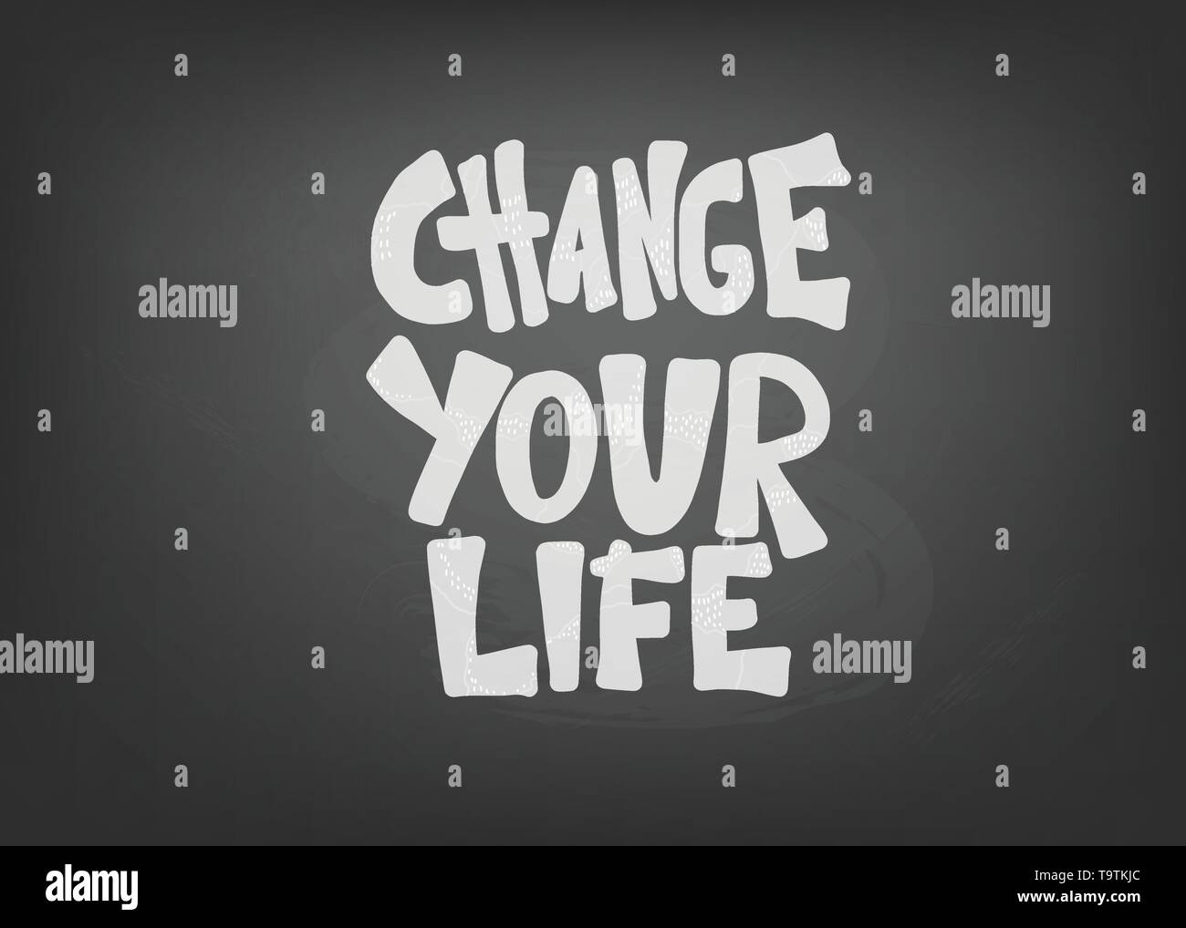 Change your life handwritten lettering with decoration. Poster vector template with quote. Color  illustration. - Stock Image