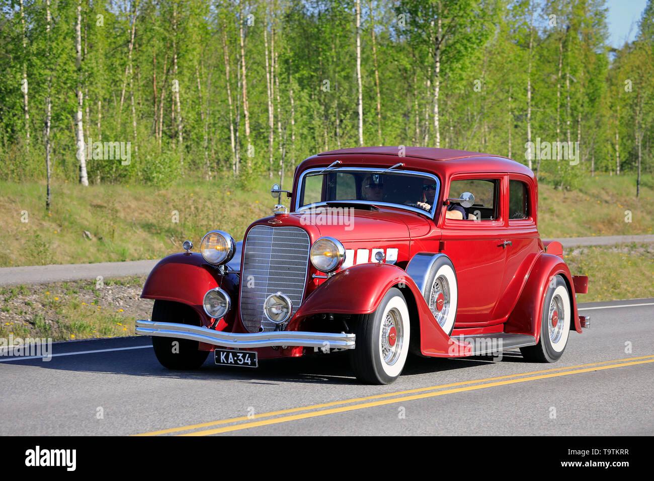 Salo, Finland. May 18, 2019. Beautiful red Lincoln KA classic car, presumably 1934, on Salon Maisema Cruising 2019. - Stock Image