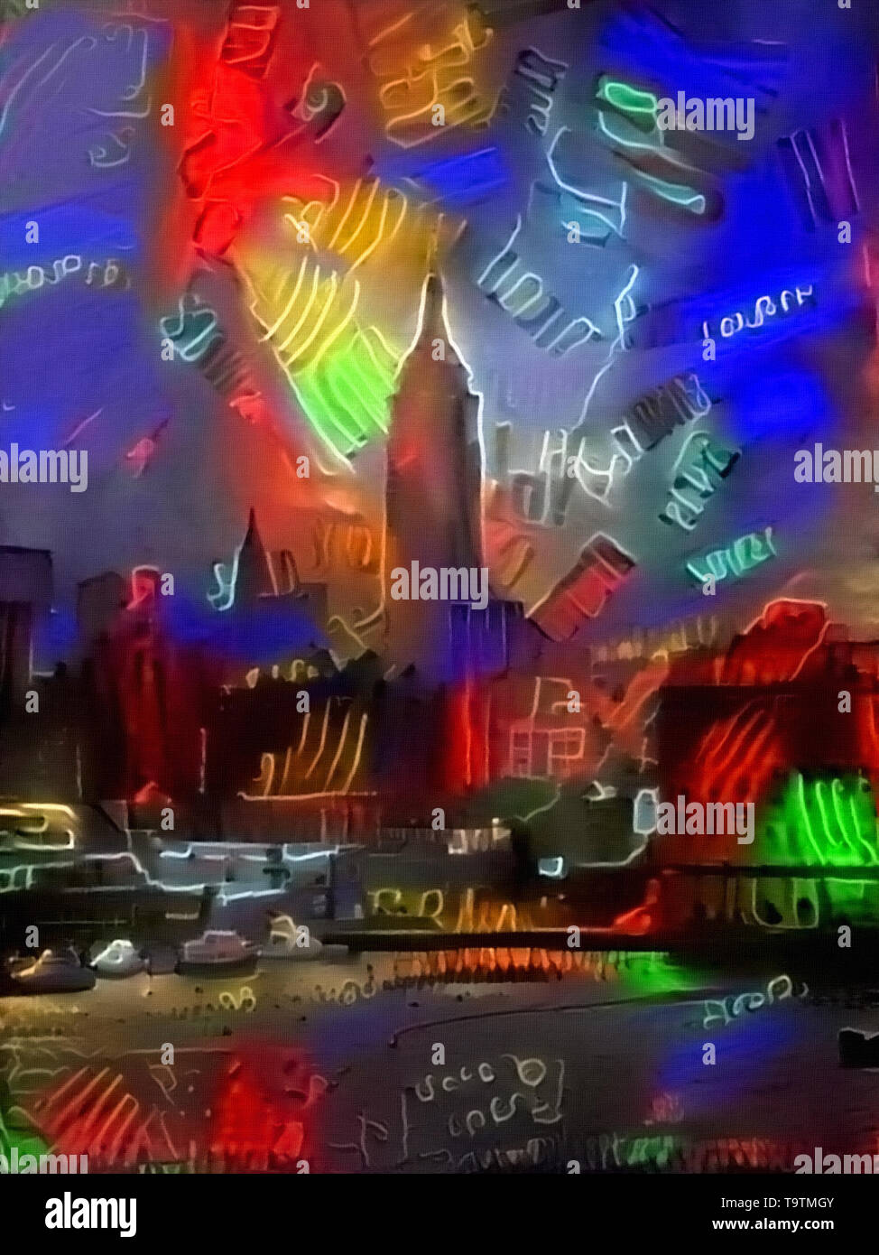 Modern abstract painting. Colors of New York - Stock Image