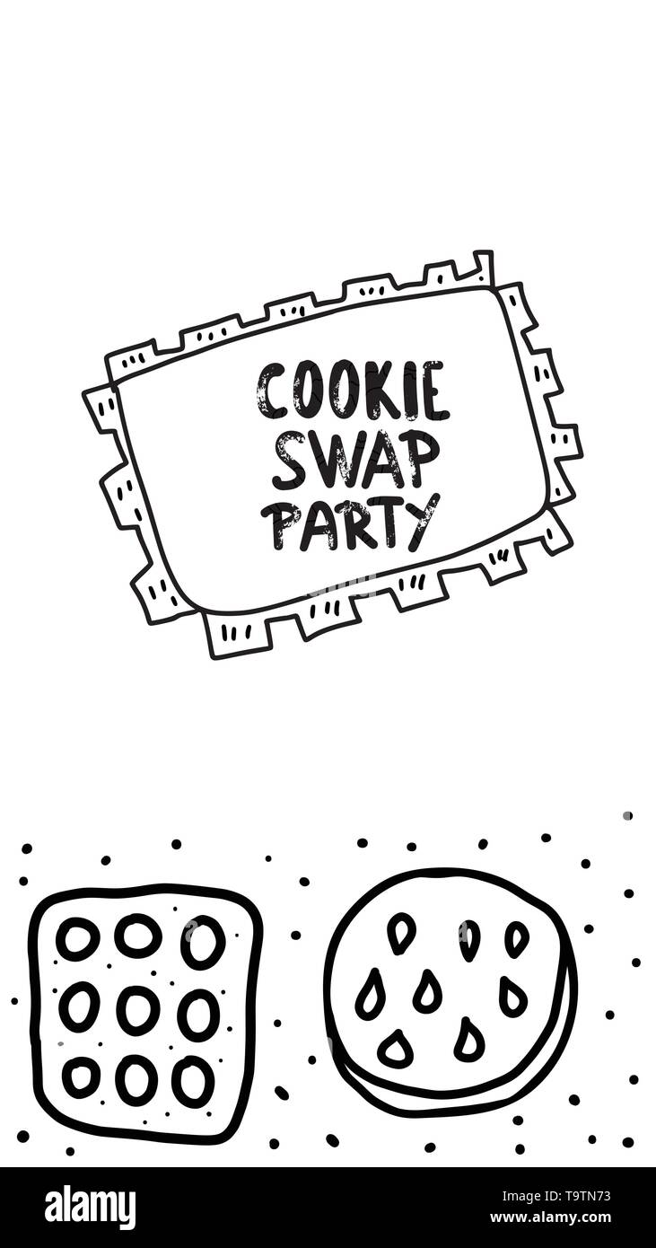 Cookie Swap social media template concept with quote and pastry. Hand lettering with doodle style decoration. Handwritten phrase with baked goods desi - Stock Image